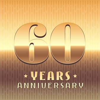 60 years anniversary vector icon, symbol. graphic design element or logo with golden metal number for 60th anniversary