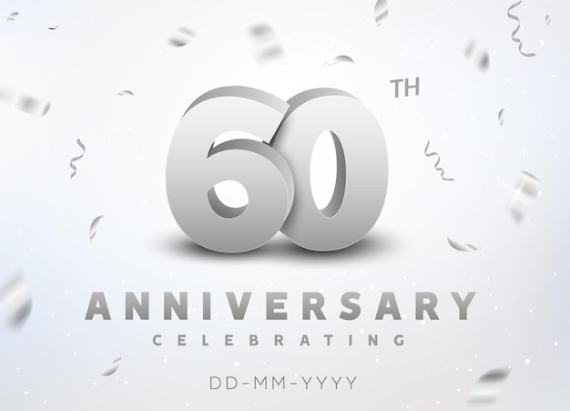 60 years silver number anniversary celebration event. anniversary banner ceremony design for 60 age.