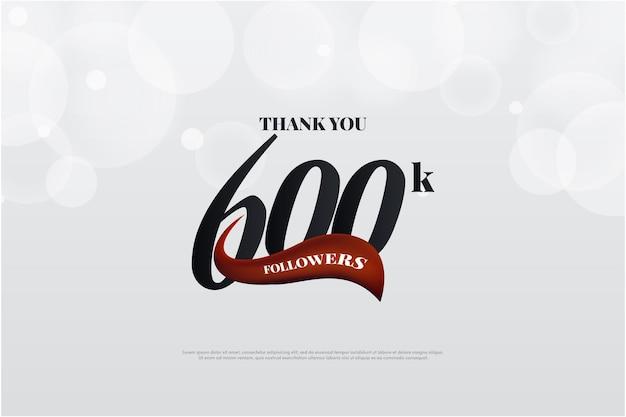 Фон 600k подписчиков с плоским дизайном и уникальным номером