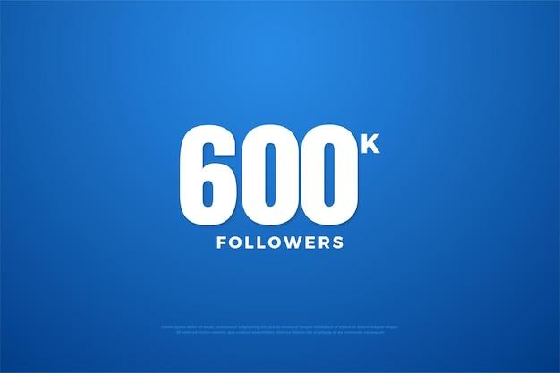 600k подписчиков с плоским дизайном на синем фоне