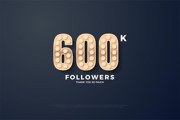600 тысяч подписчиков с зернистой числовой текстурой