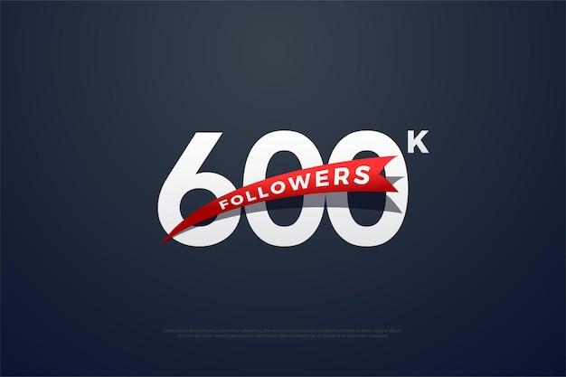 600 тыс. подписчиков с сужающимся красным изображением