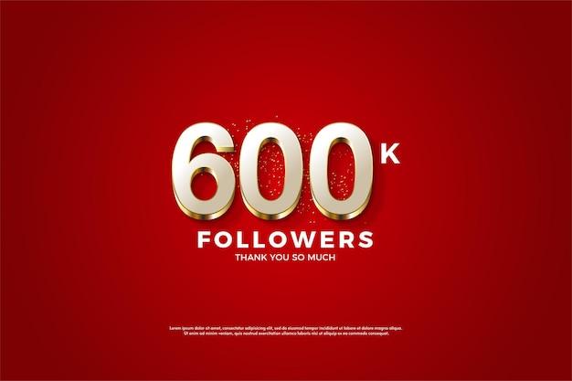 멋진 골드 숫자 오버레이가 있는 600,000명의 팔로워
