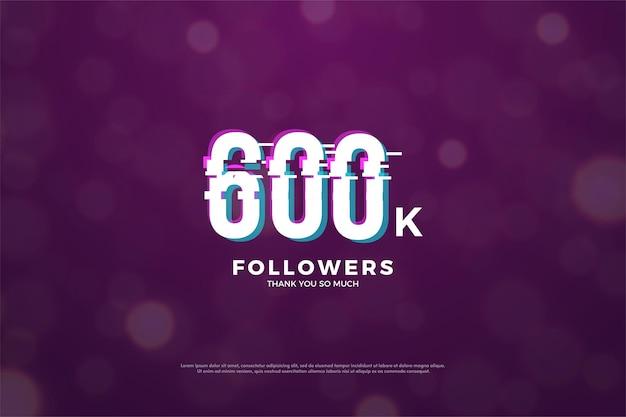600k подписчиков с эффектом нарезки цифр в мире
