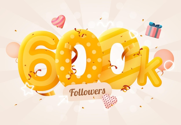 600 000 или 600 000 подписчиков спасибо розовое сердце, золотые конфетти и неоновые вывески.