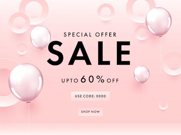 Специальное предложение: дизайн плаката со скидкой 60%, кружки, вырезанные из бумаги, и глянцевые воздушные шары на пастельно-розовом фоне.