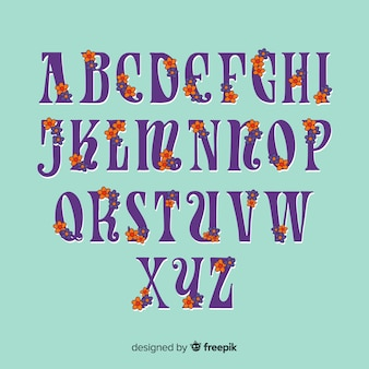 花60年代スタイルのアルファベット