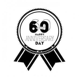 記念日のお祝いの紋章または記章の番号60