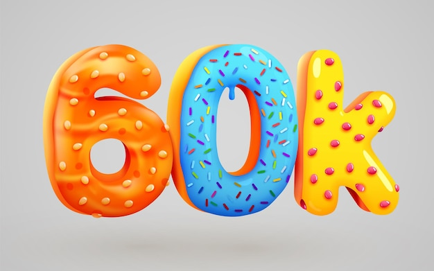 60k followers donut dessert sign social media friends followers thank you subscribers