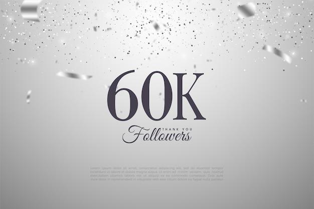 60k последователей с иллюстрацией чисел и падающими серебряными лентами.