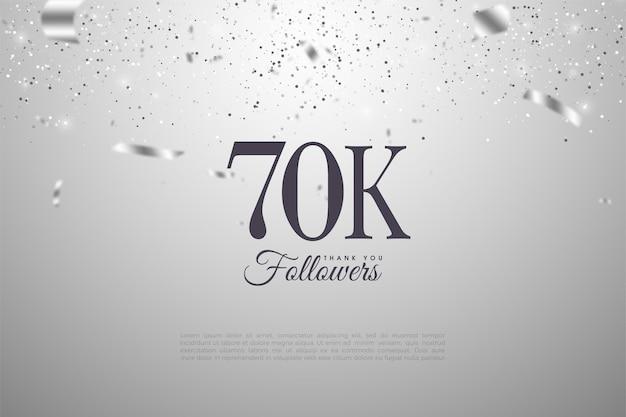 Разбросано 60k последователей с числами и серебряными лентами.