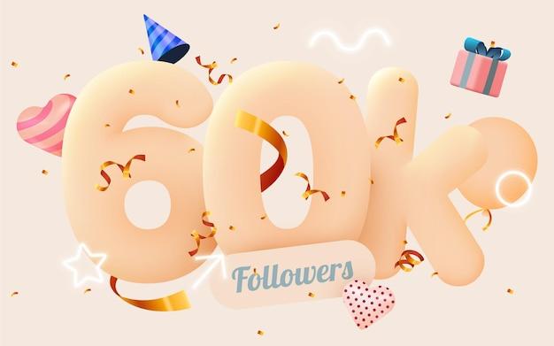 60 тысяч или 60000 подписчиков спасибо розовое сердце, золотые конфетти и неоновые вывески.