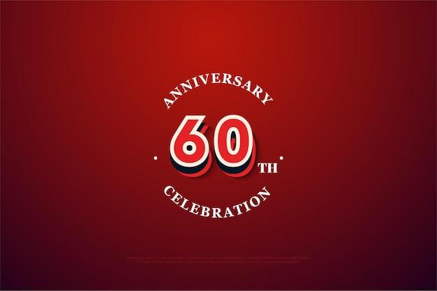 数字のイラストと結婚60周年の背景。