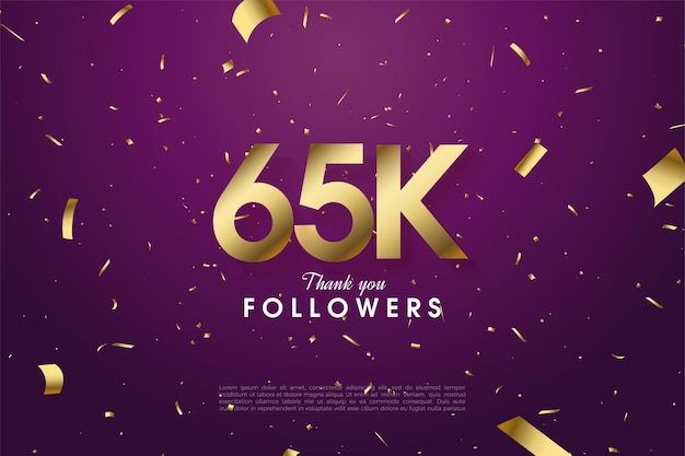 65k followers with scattered gold paper illustrations on a purple background