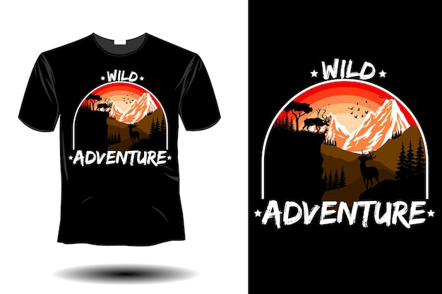 66. wild life animal mockup retro vintage design