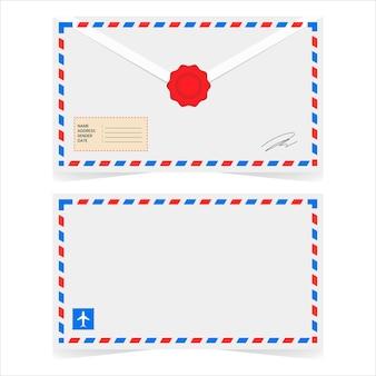 67.白い背景の上の古典的な航空便の封筒eps.10
