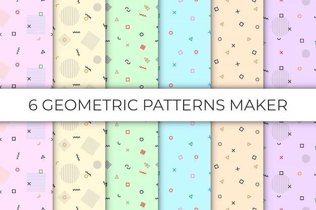 6 коллекций бесшовных геометрических узоров на пастельном фоне
