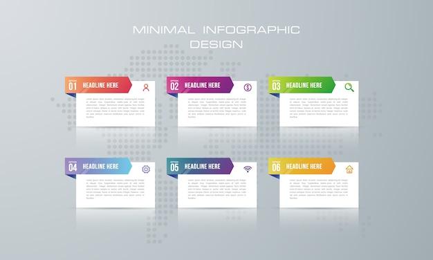 6オプション、ワークフロー、プロセスチャート、タイムラインのインフォグラフィックデザインを持つインフォグラフィックテンプレート