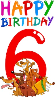 6歳の誕生日記念日のデザイン