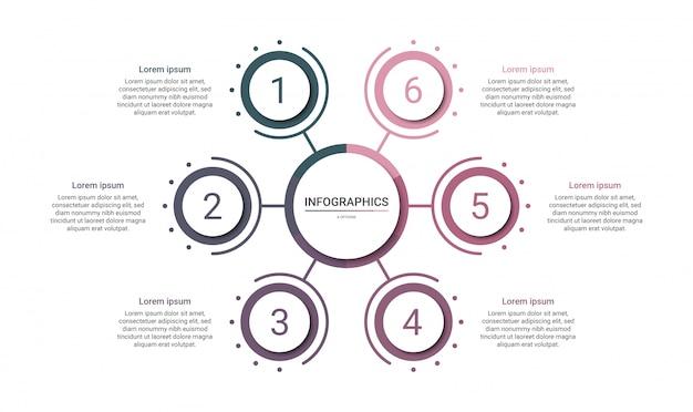 Хронология инфографики шаблон с 6 вариантами на белом фоне