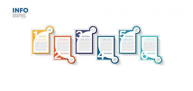 Инфографики элемент с 6 вариантами или шагами. может использоваться для процесса, презентации, схемы, макета рабочего процесса, информационного графика, веб-дизайна.
