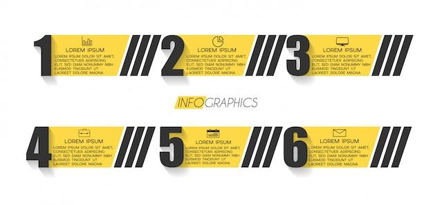 アイコンと6のオプションまたは手順を持つインフォグラフィック要素。