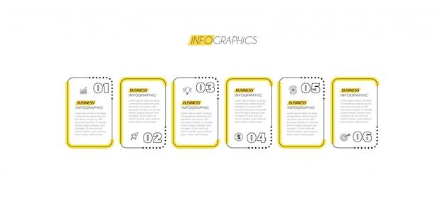 アイコンと6つのオプションまたは手順のインフォグラフィック要素。