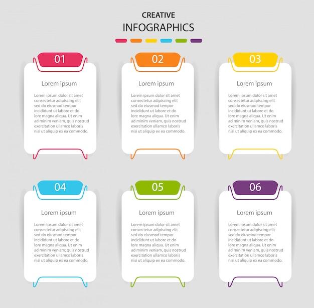 6つのオプションを持つテンプレートインフォグラフィック