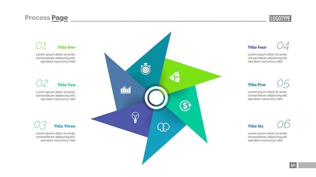 6つの要素のテンプレートを持つ比喩の図表