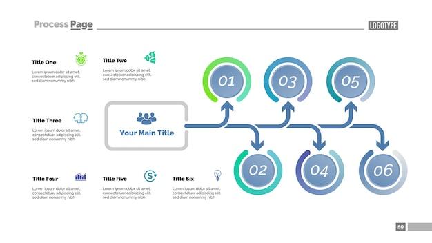 6つのオプションを持つツリー図。プロセスチャート、矢印ダイアグラム、スライドテンプレート