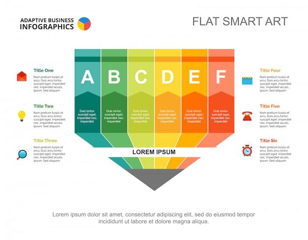 プレゼンテーションのための6色の鉛筆プロセスチャートテンプレート。