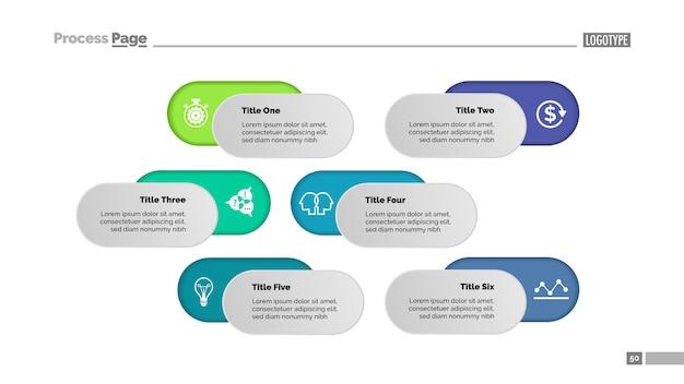 6つのオプションソリューションプロセスチャートテンプレート。ビジネスデータ。