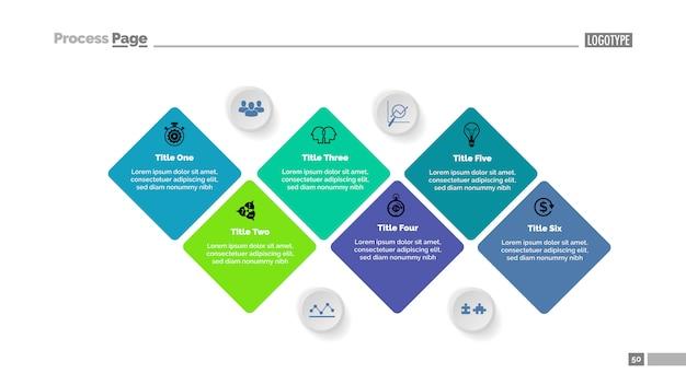 6つの段階のダイアグラムスライドテンプレート。ビジネスデータ。グラフ、チャート