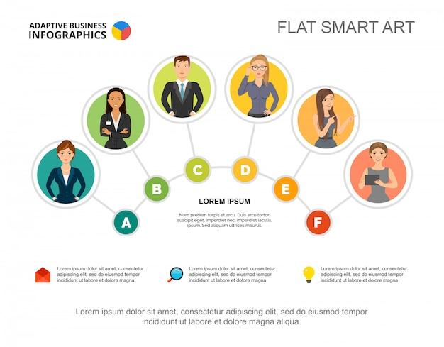 プレゼンテーションのための6人の労働者チームプロセスチャートテンプレート。ビジネスデータの視覚化。