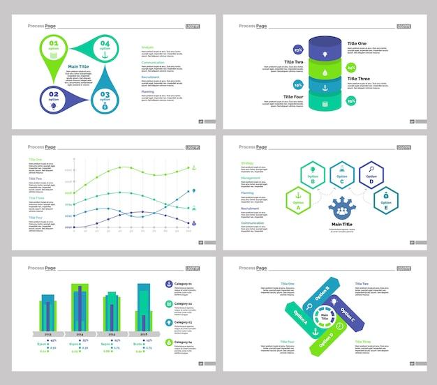 6つの統計スライドテンプレートセット