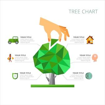 6つのオプションを持つツリーチャートスライドテンプレート