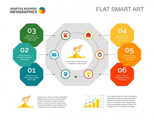 6ステップのプロセスチャートスライドテンプレート