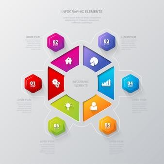 多色六角形6ステップセクターインフォグラフィックベクトルテンプレート。