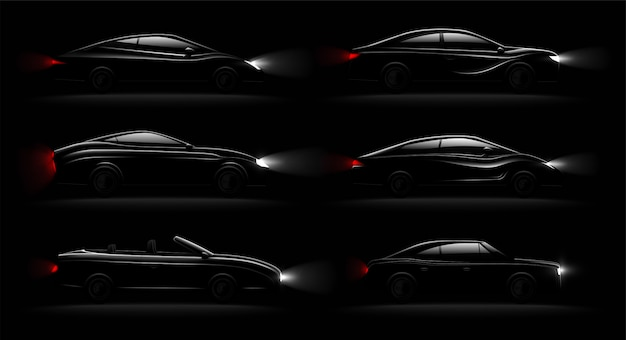 Освещенные автомобили в темноте, реалистичные 6 черных роскошных автомобильных ламп, освещенных установлен с кабриолетом седан хэтчбек