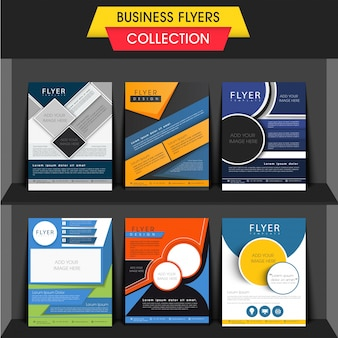 6つの異なるビジネスチラシのセット、または画像を追加するためのスペースを備えたテンプレートデザイン