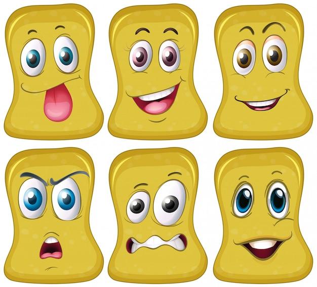 黄色い形の6つの異なる顔
