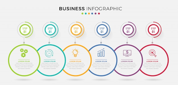 Шаблон бизнес инфографики. тонкая линия дизайна с номерами 6 вариантов или шагов.