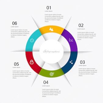 6つのステップを持つビジネスマーケティングインフォグラフィック