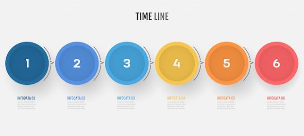 ビジネスプロセスのタイムラインインフォグラフィック6つのステップ。