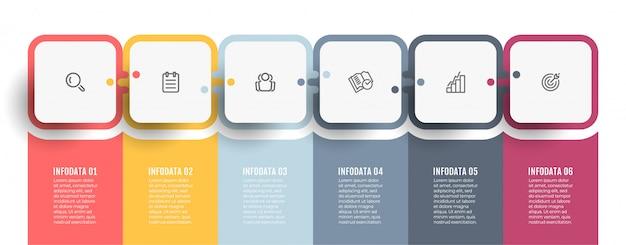 ビジネスインフォグラフィックテンプレート。プロセスチャート。アイコンと6つのオプションまたはステップを含むタイムライン。