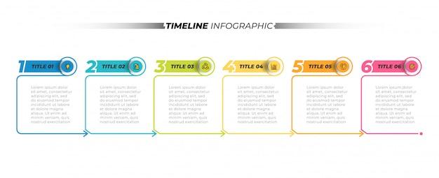 タイムラインインフォグラフィックテンプレートデザイン要素の矢印と細い線のプロセス。 6つのステップ、オプションのビジネスコンセプト。ベクトルイラスト。