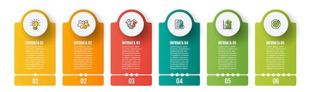 ビジネスインフォグラフィックテンプレート。 6つのステップ、チャート、マーケティングアイコンのタイムライン。