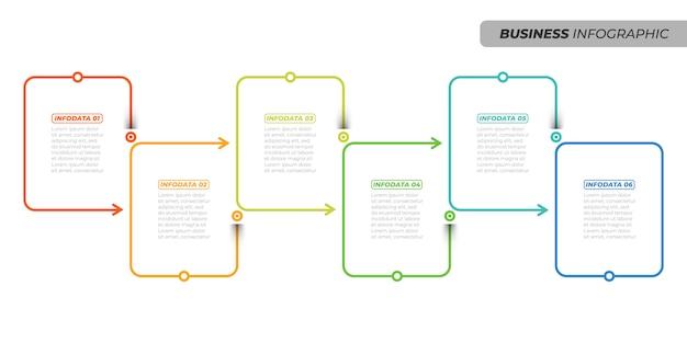 ビジネスの創造的なデザインの線形インフォグラフィックテンプレート。 6つのオプション、矢印、ボックスを使用したタイムラインプロセス。ベクトル図