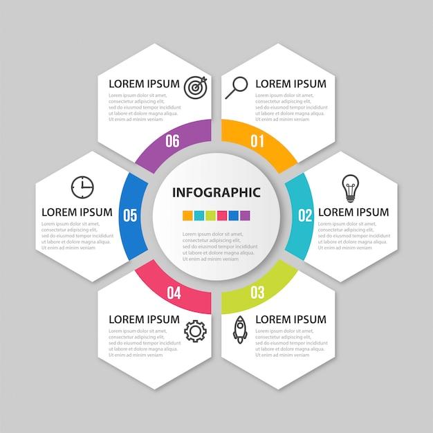 Презентация бизнес инфографики шаблон с 6 вариантами