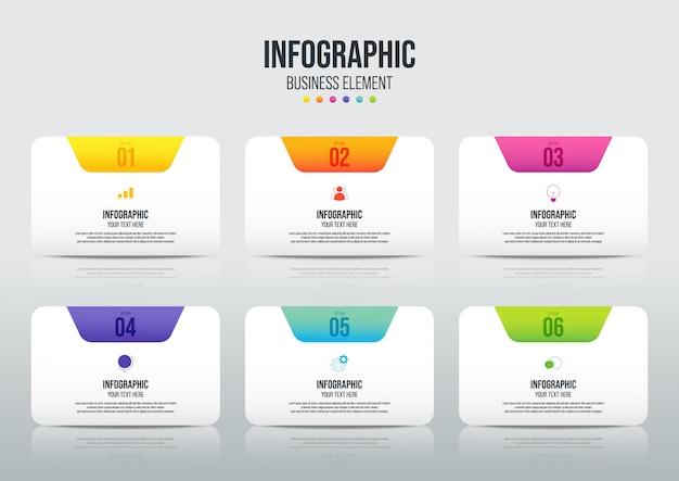 モダンなインフォグラフィックビジネステンプレートと6つのオプションによるデータの可視化。